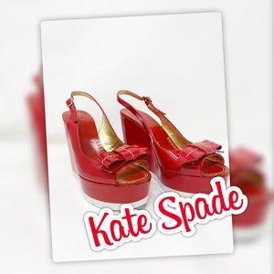 Kate Spade Red Paten Leather Platform Heels EUC
